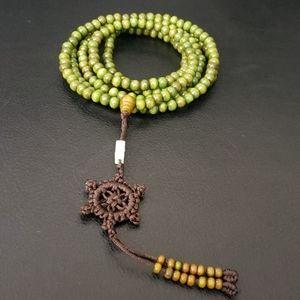 Jewelry - NWT Army Green Mala Prayer Bead XL long Bracelet